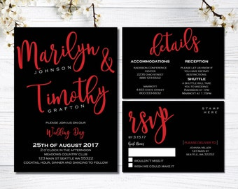 Red and Black Wedding Invitations | Elegant Wedding Invitation Suite | Formal Wedding | Our Love Story | Black Tie Affair | Timeless Event