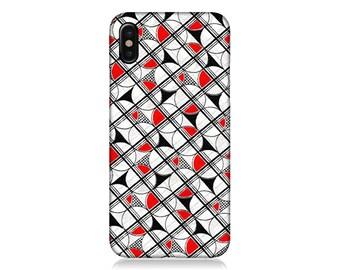 iPhone X case, iPhone 8 case, Retro iPhone 6 case, iPhone 7 plus Case, Geometric iPhone Case, iphone 5 case, Red White Black, Phone Cases