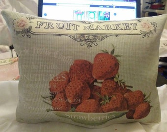 primitive strawberry fruit market shabby farm old weathered style vintage Decorative Pillow Room