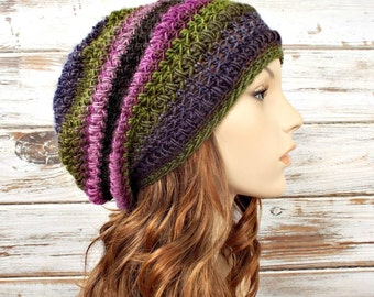 Womens Crochet Hat Womens Hat - Penelope Puff Stitch Slouchy Hat Purple Green Crochet Hat Purple Hat Womens Accessories