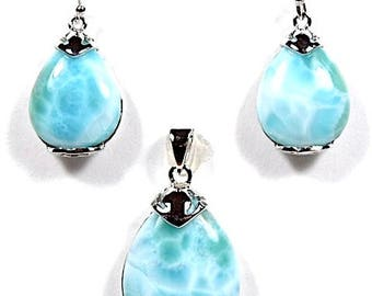 100% Natural Larimar On 925 Sterling Silver Necklace Pendant & Earrings Set. Free 18'' silver chain. OP88-2