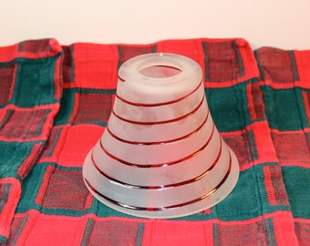 Vintage FROSTED Cranberry Swirl Glass Light Shade Home Decor Lighting Repurpose 1940s 50s