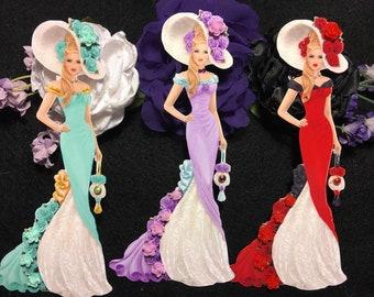 LilyAnne Victorian Lady Chipboard Embellishments 3D Roses Gemstones and Pearls DarlingArtByValeri Scrapbooking Mini Album Card Makin Woman