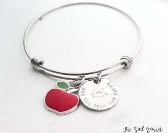 Teacher Gift | End Of The Year Gift | Expandable Bangle Bracelet | Adjustable Bangle | Teacher Jewelry | Happy Tree Bangle | Apple Bangle