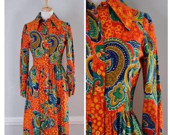 Vintage Dress / Vintage 70s Dress / 70s Hippie Dress / 70s Shirtwaist Dress / Maxi Dress / 70s Boho Dress / Authentic Vintage / Size Small