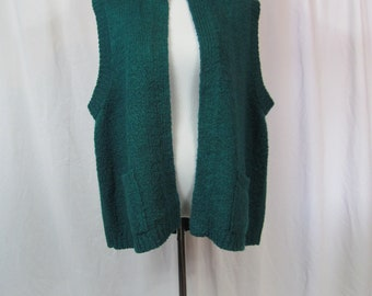 Cute Vintage Womens 90s Green Sleeveless Sweater Cardigan / Long Sweater Vest With Pockets