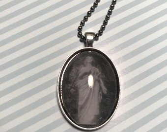 Weeping Cemetery Angel Glass Pendant Cabochon Necklace