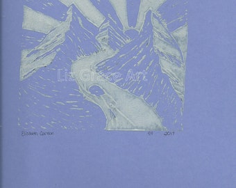 Light Gray and Purple Mountain Linocut Digital Print