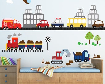 Transportation Train Decal,  Reusable Decal Non-toxic Fabric Wall Decals for Kids, WD96C