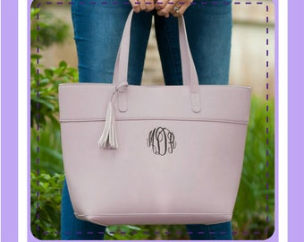 Monogrammed Hand Bag, Personalized Purse; Vegan Leather; Monogrammed Pocketbook
