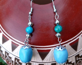 Earrings Australian Jasper and chalk turquoise gemstone surgical steel earwires