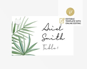 Printable Place Card Template | Editable online flat card  | DIY You print | Tropical green