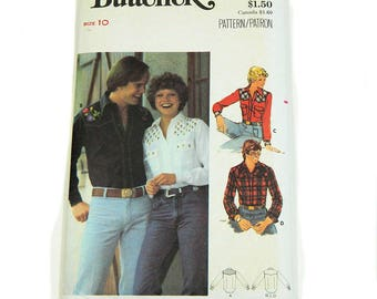 Uncut Sewing Pattern Butterick 5006 Western Shirt with Embroidery 1970s