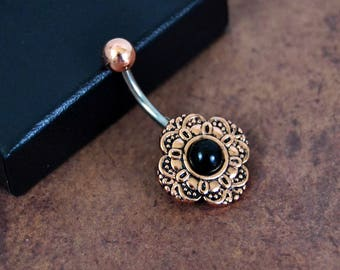Belly Button Ring Vintage Czech Glass Rose Gold Black Belly Ring 14 gauge Navel Ring