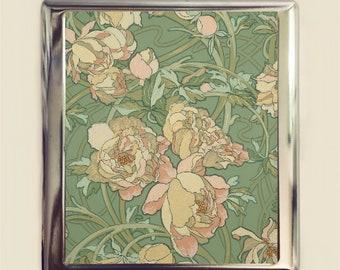 Art Nouveau Flower Cigarette Case Business Card ID Holder Floral Flowers Deco