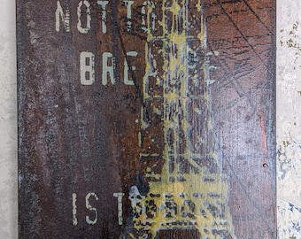 Nuits de la Ville - Original mixed-use media on repurposed wood and acrylic paint and ink