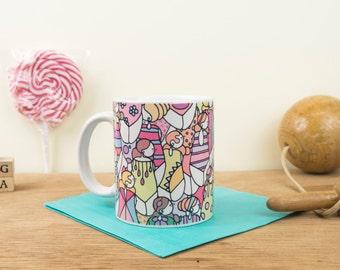 "Design ceramic mug ""Bathers"" (11 oz). Handmade mug. Coffee Cup. Modern mug. The generous"