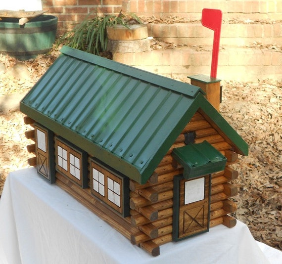 Exceptionnel Rustic Log Cabin Mailbox Handcrafted Log Home Mailbox Green Metal Roof  Design Fits Standard Mailbox Post Unique Mailbox