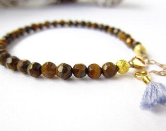 Tiger's eye beaded bracelet, tassel bracelet, gold tiger eye gemstone bracelet, delicate bracelet, stacking bracelet, gemstone jewelry