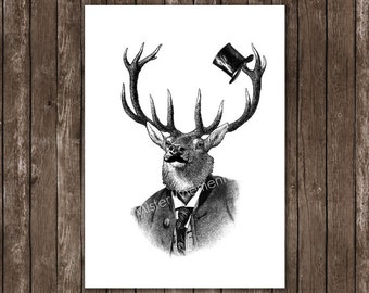 deer print, elk poster home decor, wall decor, wall hangings deer portrait with top hat and mustache, deer art print