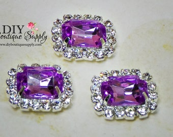 Small LAVENDER Crystal Flatback Rhinestone buttons Embellishment Wedding Bridal Accessories Hairbow or  flower centers 13x15mm 761040