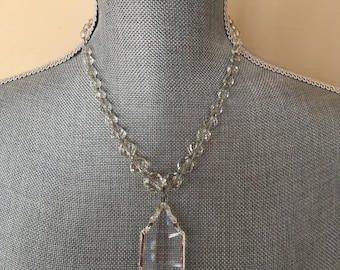 Vintage Upcycled Chandelier Crystal & Mid-Century Crystal Necklace