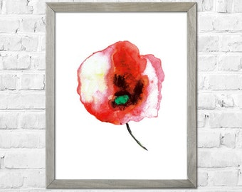Flower Painting Print, Flower Watercolor painting, Watercolor print, Abstract flower, Flower art, Red flower, Floral print, Watercolor art