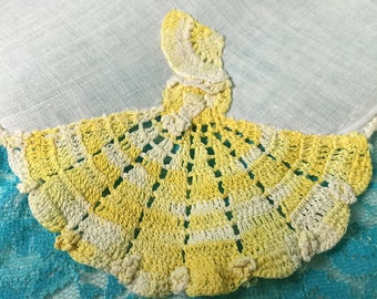 Southern Belle Hand Crochet Lace Hankie Vintage White Linen Handkerchief