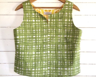 summer shirt sleeveless top - easy fit Large - vintage green plaid