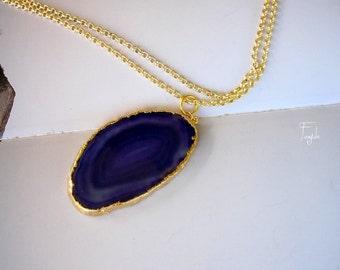 Agate Slice Necklace, Geode Druzy Necklace - OOAK -