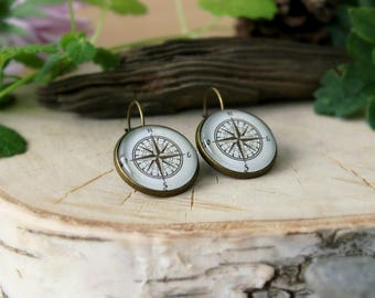 Vintage Compass Earrings | Antique Bronze Earrings | Compass Jewelry | Glass Dome Earrings | Bronze Compass