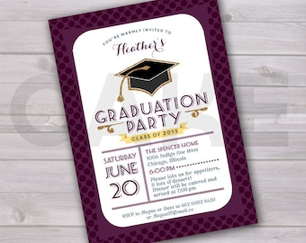 Graduation Invite Graduation Party Invitation Grad