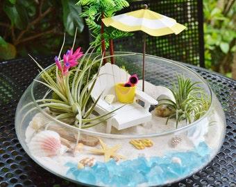 """Beach Terrarium Kit ~ 10"""" Bowl Air Plant Terrarium Kits ~ Beach Umbrella and Beach Chair ~ Margarita ~ Coastal Living Beach Decor ~ Gift"""