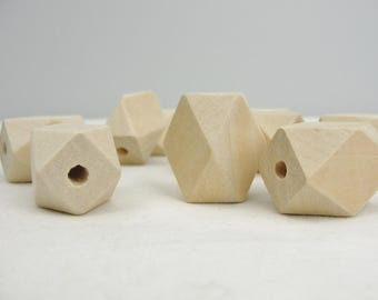 """Wooden geometric large beads, 1"""" x 3/4"""" with a 1/8"""" hole set of 10"""