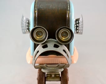 SKEEBO, the TOASTER FISH, Assemblage Art Recycled Robot Sculpture, a Vintage Toaster Skate Fish