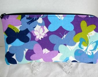 Zippered Pouch Butterfly Make Up Bag Purple Navy Gadget Case