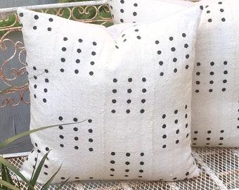 Tribal African Mudcloth Pillow  in Large Dot Design  Boho Modern  22x22