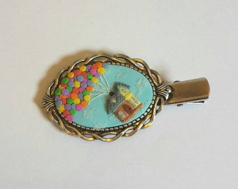 Up inspired wearable art hairclip - hand sculpted polymer clay cameo