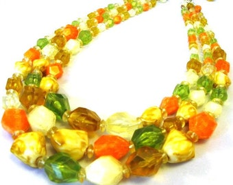 Tropical Punch orange, green, yellow vintage necklace