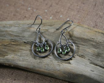 Silver and Peridot Hinged Earrings