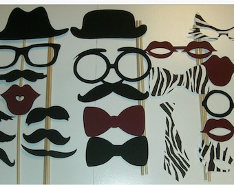 Photo Booth Prop Set mustache lip hat glasses ties #22 pieces (2012DC)