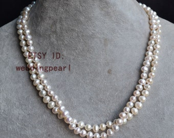 pearl necklace , 18 inches 2 row 6-6.5mm ivory freshwater pearl necklace, pearl jewelery, wedding necklace, bride necklace, bridesmaids gift