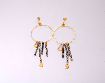 Long earrings with big hoop in brass,square heamatite, and chain EST EGST