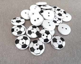 12 Soccer Wood Painting Sewing Buttons Black and White 15mm