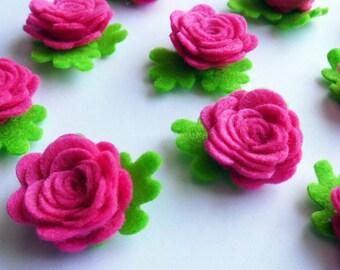 Aplique rosas fucsia, aplique fieltro, rosas fieltro