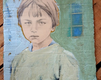 Child portrait - Painting by old photo.