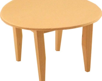 Unfinished Wood Pine Round Kitchen Table (Craft / dollhouse miniature furniture)