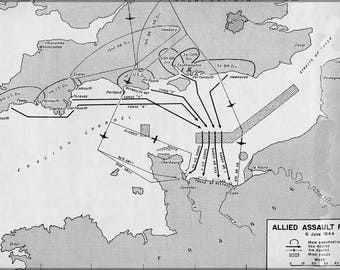 Poster, Many Sizes Available; D-Day Allied Assault Routes Map P2