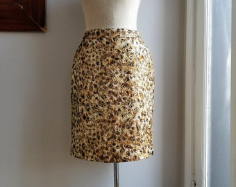"90s Gold Brocade Skirt/Gold Metallic Skirt/Animal Print Pencil Skirt/Leopard Print Skirt/Long Leopard Skirt/Size 8/22""Long/31""Waist/41""Hips"