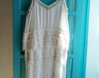 DIVINE twinset white cotton DRESS tiered eyelet lace hippie wedding